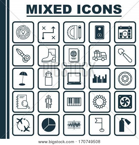 Set Of 25 Universal Editable Icons. Can Be Used For Web, Mobile And App Design. Includes Elements Such As Audio Device, Coast Parasol, Project Targets And More.