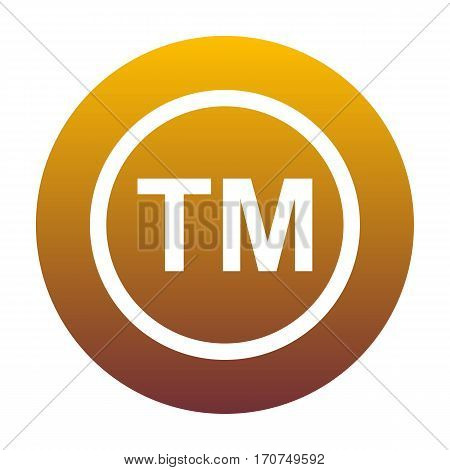 Trade mark sign. White icon in circle with golden gradient as background. Isolated.