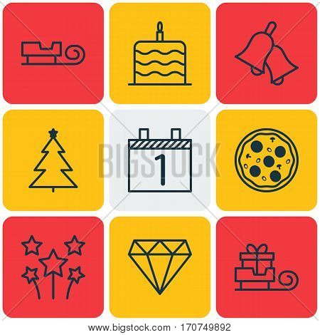 Set Of 9 Celebration Icons. Includes Ringer, Decorated Tree, Toboggan And Other Symbols. Beautiful Design Elements.