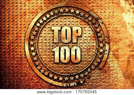top 100, 3D rendering, text on metal