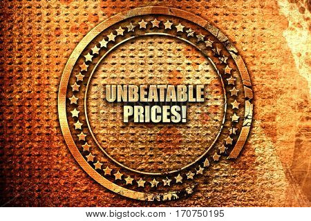 unbeatable prices, 3D rendering, text on metal