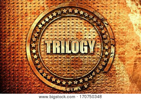 trilogy, 3D rendering, text on metal