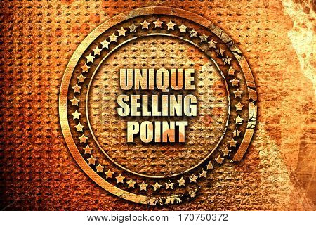 unique selling point, 3D rendering, text on metal