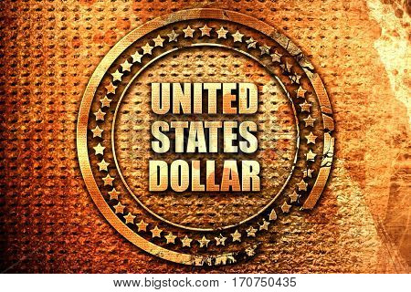 united states dollar, 3D rendering, text on metal