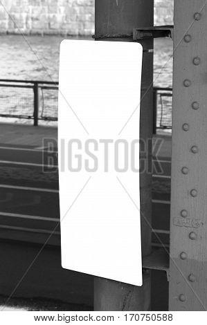 plaque signboard urban city billboard black white
