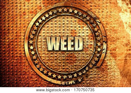 weed, 3D rendering, text on metal