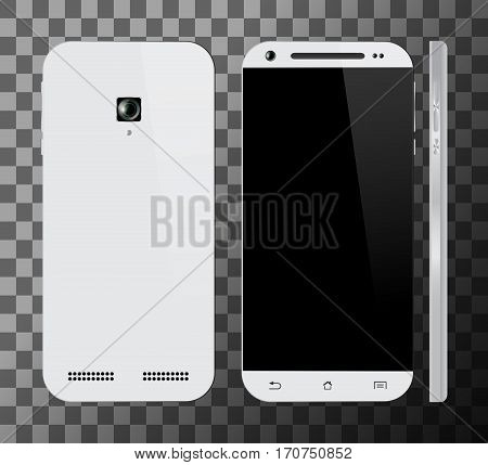 Realistic white smartphone with blank screen. Front, back and side view. Cell phone mockup design. Mobile phone vector illustration.
