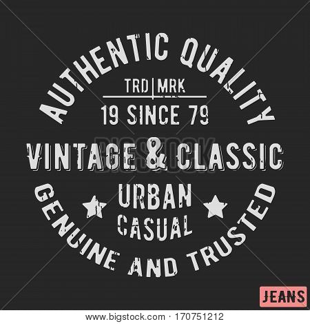 T-shirt print design. Classic vintage stamp. Printing and badge applique label t-shirts, jeans, casual wear. Vector illustration.