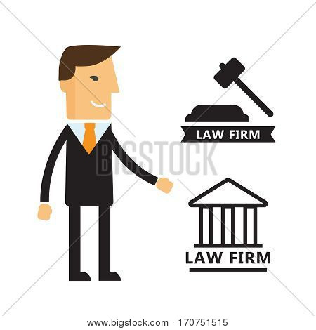 Lawyer concept. Lawyer icons in flat style. Lawyer sign and symbol vector. Lawyer vector