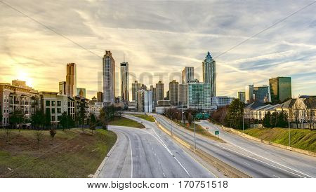 Panorama of downtown Atlanta, with no people or cars