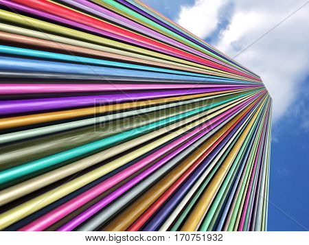multicolored tubes, 3d illustration