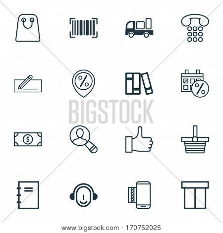 Set Of 16 Ecommerce Icons. Includes Tote Bag, Box, Recommended And Other Symbols. Beautiful Design Elements.