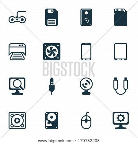 Set Of 16 Computer Hardware Icons. Includes Hdd, Aux Cord, Cellphone And Other Symbols. Beautiful Design Elements.
