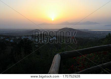 Sunset on Mount Dikeos, Kos Island, Greece