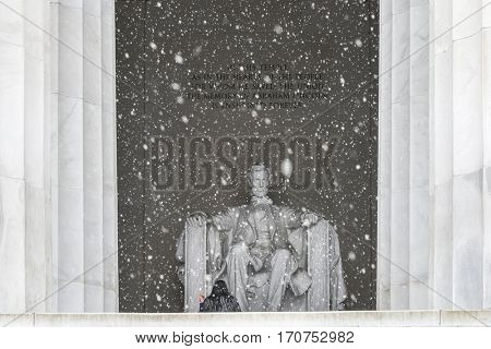 Washington DC, Lincoln Memorial in snow -  United States