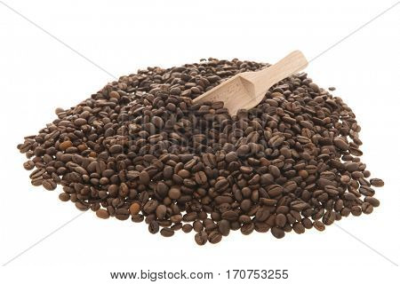 coffee beans with wooden spoon isolated over white background