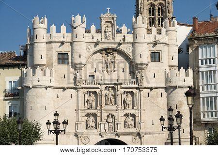 Burgos (Castilla y Leon Spain): historic buildings. Puerta de Santa Maria
