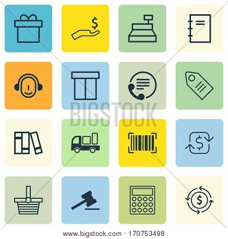 Set Of 16 E-Commerce Icons. Includes Identification Code, Present, Pannier And Other Symbols. Beautiful Design Elements.