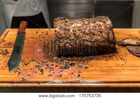 Carving of Wagyu beef roast