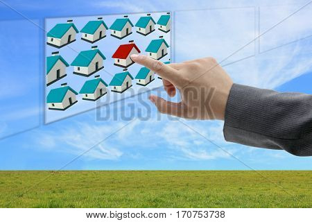 asian business man hand finding online property