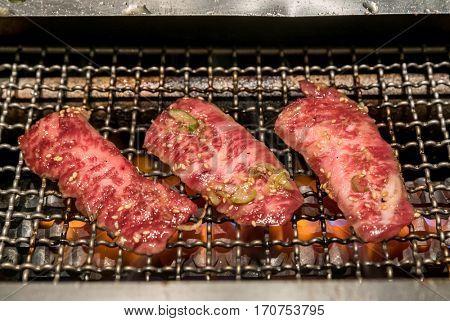 grilled wagyu beef Japanese meat BBQ yakiniku