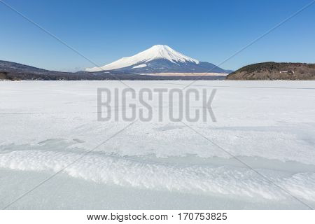 Winter Mount Fuji at Iced Yamanaka Lake in snow winter season Japan