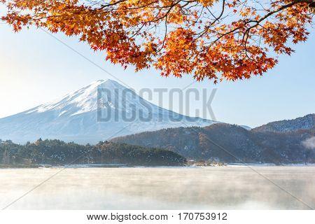Mt. Fuji in autumn at Kawaguchiko or lake Kawaguchi in Fujikawaguchiko Japan