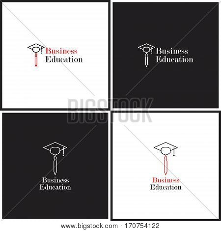 Vector eps logotype or illustration showing business education with tie and hat in outline style