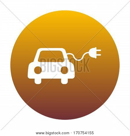 Eco electric car sign. White icon in circle with golden gradient as background. Isolated.