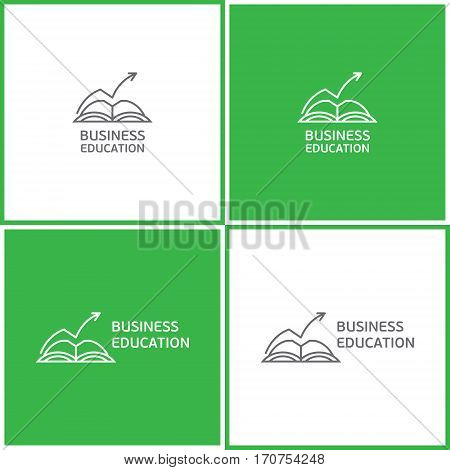 Vector eps logotype or illustration showing business education with book and rised arrow in outline style