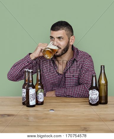 Middle Eastern Man Beer Drinks Alcohol Studio Portrait
