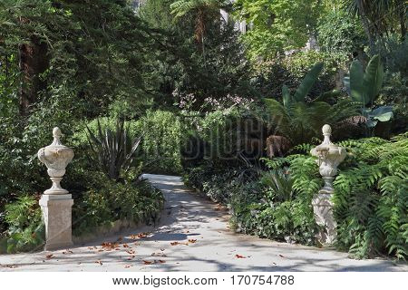 The track in the old park. Artistic statues adorn the shady lane