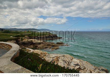 Ocean coast in the north west of Spain, Galicia region, cliffs detail in Foz