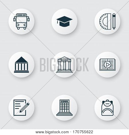 Set Of 9 Education Icons. Includes Taped Book, Haversack, Education Center And Other Symbols. Beautiful Design Elements.