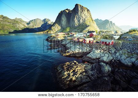 Fishing hut at summer time - Reine, Lofoten islands, Norway