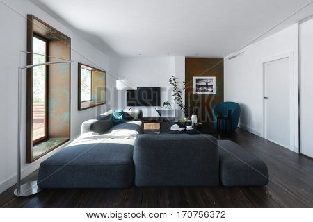 Modern loft living room interior with large comfortable modular lounge suite, hardwood floorboards and wooden windows viewed with receding perspective, 3d rendering