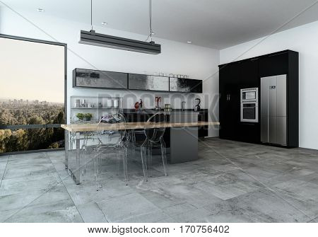 Modern fitted kitchenette in a spacious open plan living room room with tiled floor and a view over a city through large windows, 3d Rendering.