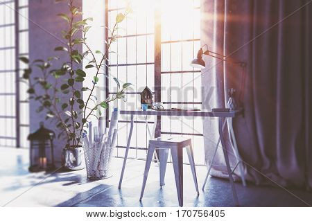 Bright yellow sunlight entering window in spacious home office with small desk and stool. 3d Rendering.