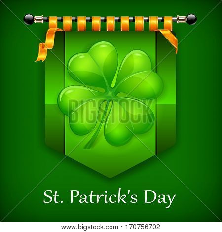 Green Lucky Four Leaf Irish Clover Flag