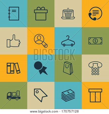 Set Of 16 E-Commerce Icons. Includes Delivery, Box, Discount Coupon And Other Symbols. Beautiful Design Elements.