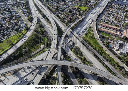 Los Angeles freeway ramps at the Golden State 5 and Route 118 interchange in the San Fernando Valley.