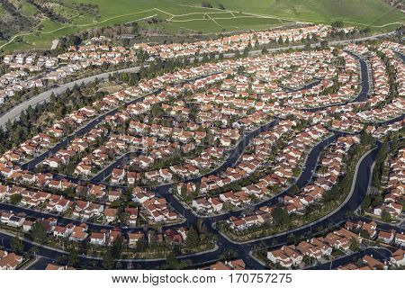 Aerial view of modern suburban housing in the Porter Ranch community of Los Angeles, California.