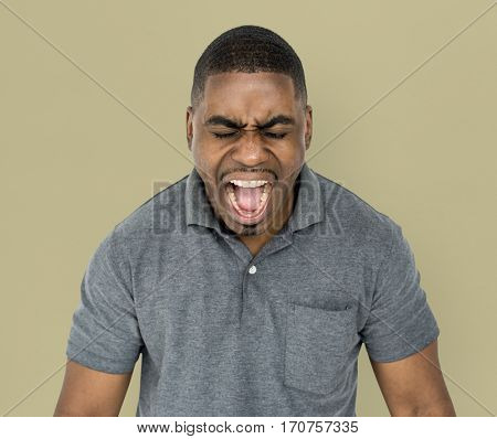 African Descent Man Shouting Screaming