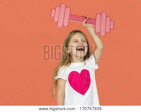 Little Girl Lifting Prapercraft Dumb Bells