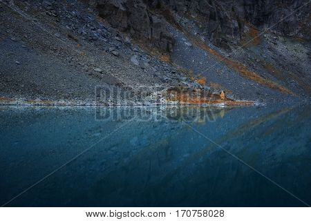 Slope Reflecting In Mirror Like Surface Of Mountain Lake Symmetrically, Altai Mountains Highland Nature Autumn Landscape Photo. Beautiful Russian Wilderness Scenery Image.