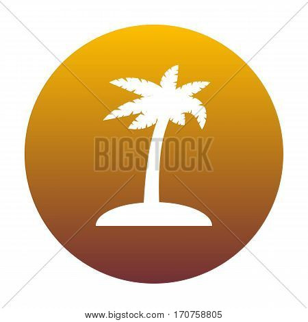Coconut palm tree sign. White icon in circle with golden gradient as background. Isolated.
