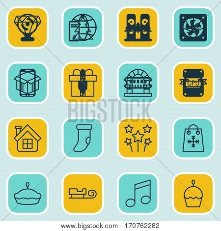 Set Of 16 Celebration Icons. Includes Brilliant, Placard, Crotchets And Other Symbols. Beautiful Design Elements.