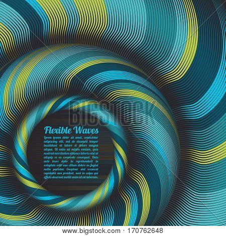 Abstract vector background, waved lines vector illustration colorful design. Wavy stripes twisted as silk . Colored stripes with variable width.