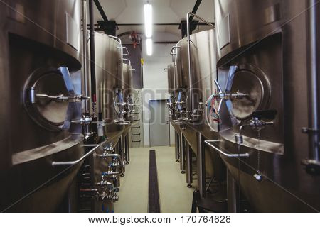 Manufacturing equipment in illuminated brewery