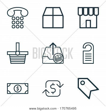 Set Of 9 Commerce Icons. Includes Buck, Callcentre, Price Stamp And Other Symbols. Beautiful Design Elements.